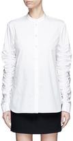 Tibi Ruched sleeve poplin shirt