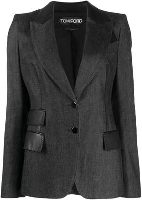 Tom Ford leather detail structured blazer