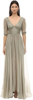 Maria Lucia Hohan Luna Embellish Metallic Mousseline Dress