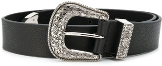 B-Low the Belt Engraved Buckle Leather Belt