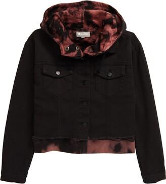 Tractr Kids' Tie Dye Denim Hoodie Jacket