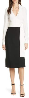 Diane von Furstenberg Mila Stretch Silk Sash Wrapped Long Sleeve Dress
