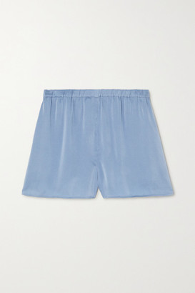 Skin Trista Stretch-silk Satin Shorts - Blue