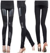 Cibeat Sexy Women Stitch Stretchy Faux Leather Black Slim Leggings Skinny Jegging Pant Colors:Three Stripes Sizes:XL