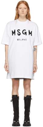 MSGM White Oversized T-Shirt Dress