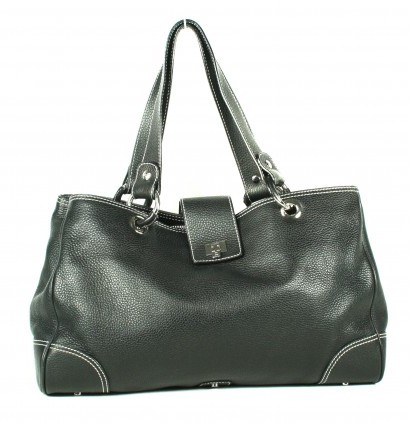 Lambertson Truex very good (VG Black Leather Tote Bag