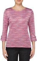 Allison Daley 3/4 Roll-Tab Sleeve Space-Dye Knit Top