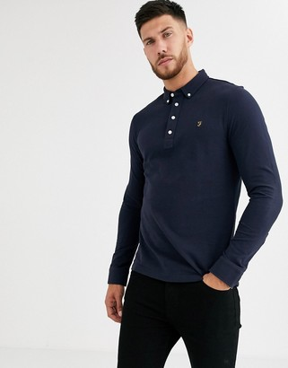 Farah Ricky long sleeve polo in navy