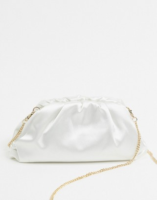 Forever New gathered clutch bag in ivory