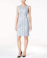 Calvin Klein Petite Faux-Suede Printed Sheath Dress