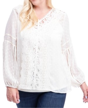 Fever Plus Size Lace-Trim Swiss-Dot Top