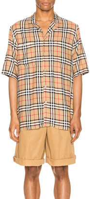 Burberry Raymouth Check Short Sleeve Shirt in Archive Beige IP Check | FWRD