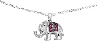 "Sterling Rhodolite Garnet Elephant Pendant with 18"" Chain"