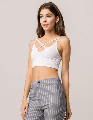 Ambiance Apparel AMBIANCE Cross Front White Womens Crop Cami