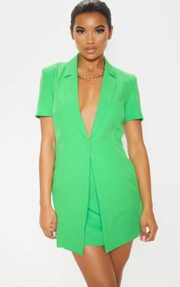 PrettyLittleThing Green Short Sleeve Skirt Insert Blazer Dress