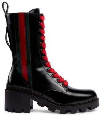Gucci Trip Leather Combat Boots