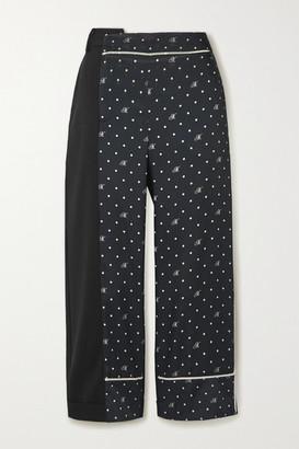 Monse Paneled Polka-dot Satin-twill And Stretch-wool Pants - Black