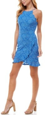 City Studios Juniors' Scalloped-Trim Ruffled Lace Dress