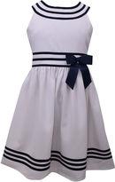 Bonnie Jean White/Navy U-Neck Sailor Dress With Board Sleeveless Skater Dress Plus - Big Kid