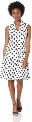 Jessica Howard JessicaHoward Women's Sleeveless Pleated Collar V-Neck Fit and Flare Dress