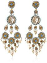 Miguel Ases Created Topaz, Quartz, Opalite, and Swarovski Large Chandelier Drop Earrings