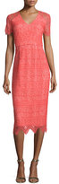 Shoshanna Short-Sleeve V-Neck Lace Dress, Coral