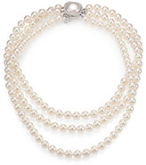 Majorica 8MM White Pearl & Sterling Silver Triple-Strand Necklace