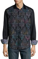Robert Graham Cumbernauld Printed Long-Sleeve Shirt, Black