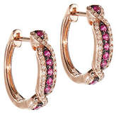 Effy 14K Rose Gold 0.23Ct. T.W. Diamond and 0.28Ct. T.W. Natural Ruby Hoop Earrings