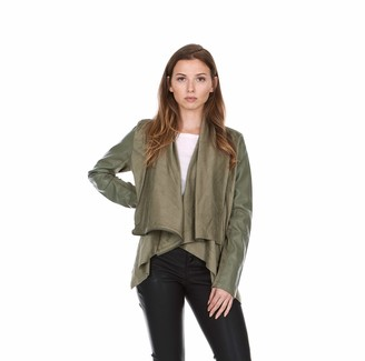 SILENT NEW YORK Women's Suede and Faux Leather Drape Front Jacket