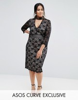 Asos Lace Mini Dress with Collar Detail