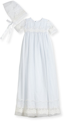 Isabel Garreton Blessing Embroidered Tulle Extra-Long Christening Gown w/ Bonnet, White, 6-12 Months