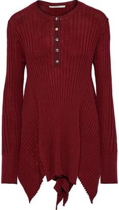 Stella McCartney Asymmetric Ribbed Wool And Silk-blend Top