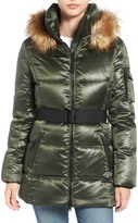 S13/Nyc Nicky Quilted Coat with Faux Fur Trim Hood