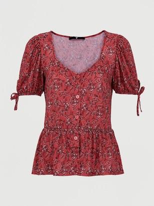 Very Button Through Floral Paisley Top - Burgundy