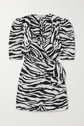 ATTICO Zebra-print Chiffon Wrap Mini Dress - Zebra print
