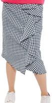 Topshop Women's Ruffle Gingham Midi Skirt