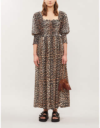 Ganni Puffed-sleeve leopard-print cotton and silk-blend maxi dress