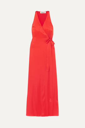 Diane von Furstenberg Satin Wrap Gown - Red