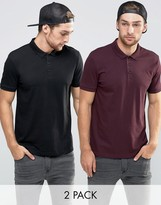 Asos 2 Pack Jersey Polo Shirt In Burgundy/Black SAVE