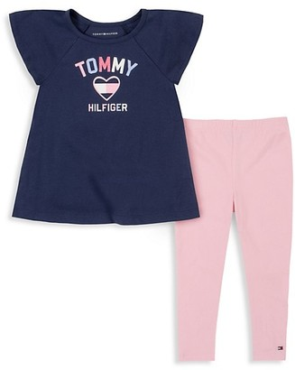 Tommy Hilfiger Little Girl's 2-Piece Logo Top Leggings Set