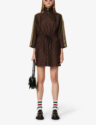 Gucci Supreme-print silk mini dress