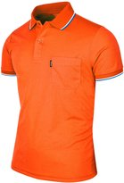 BCPOLO Men's Polo Shirt Dir Fit Solid Polo Shirt Athletic Short Sleeve Various Polo-XXL