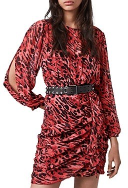 AllSaints Barre Ambient Animal Print Ruffled Dress