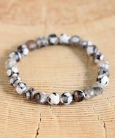 Nautilus Gray & White Stone Bead Stretch Bracelet