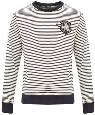 Balmain Embroidered-crest Striped Cotton Sweater - Mens - Navy