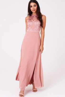 Little Mistress Ginnie Apricot Embroidery Maxi Dress