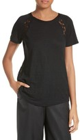 Rebecca Taylor Women's Short Sleeve Linen & Lace Tee