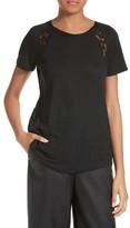 Rebecca Taylor Women's Short Sleeve Linen & Lace Tee