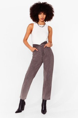 Nasty Gal Womens Do As You're Fold High-Waisted Mom Jeans - Light Grey
